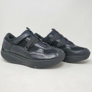 Skechers Shape Ups Black Leather Walking Shoes 8